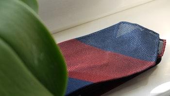 Blockstripe Silk Grenadine Tie - Untipped - Rust/Navy Blue