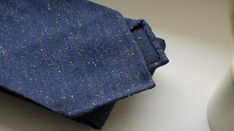 Solid Silk/Wool Donegal Tie - Untipped - Navy Blue