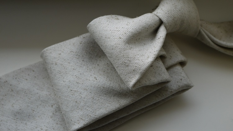 Solid Silk/Wool Donegal Tie - Untipped - Off White