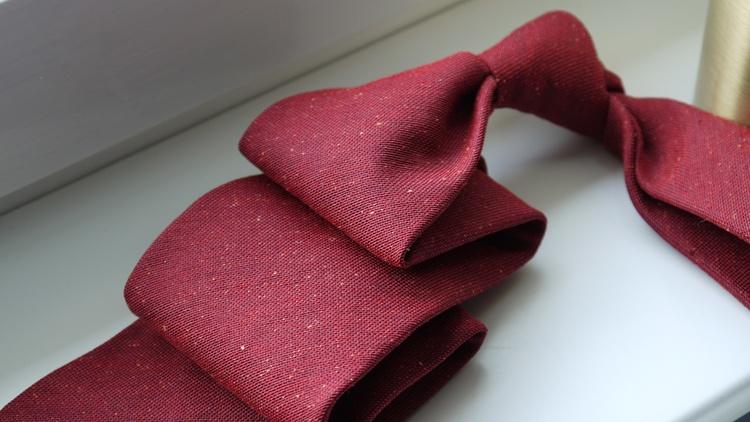 Solid Silk/Wool Donegal Tie - Untipped - Burgundy