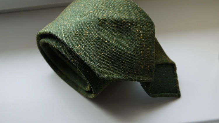 Solid Silk/Wool Donegal Tie - Untipped - Green