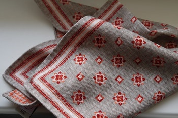 Medallion/Dogtooth Silk Pocket Square - Double - Beige/Orange