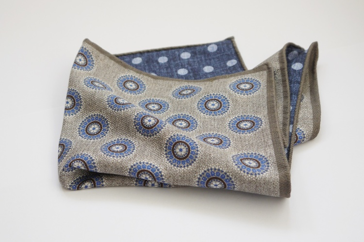 Medallion/Polka Silk Pocket Square - Double - Beige/Blue