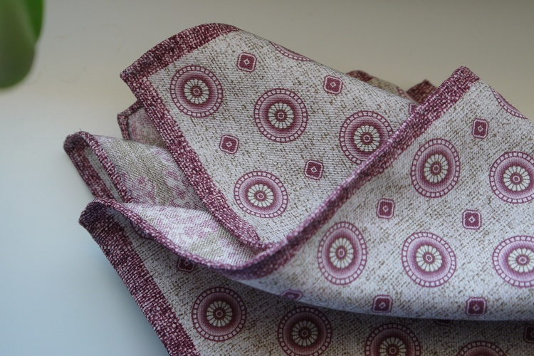 Medallion/Paisley Silk Pocket Square - Double - Beige/Pink
