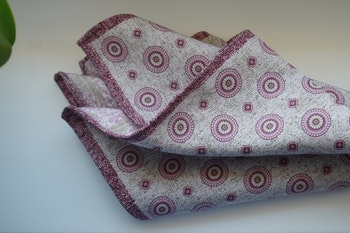 Medallion/Paisley Silk Pocket Square - Double - Beige/Pink