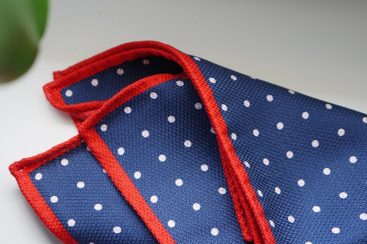 Polka Dot/Solid Silk Pocket Square - Double - Navy Blue/Red