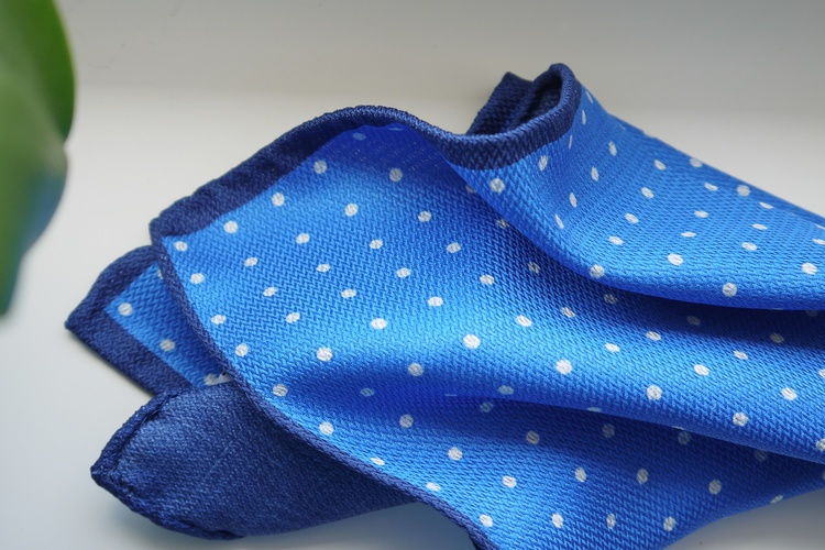 Polka Dot/Solid Silk Pocket Square - Double - Mid Blue/Navy Blue