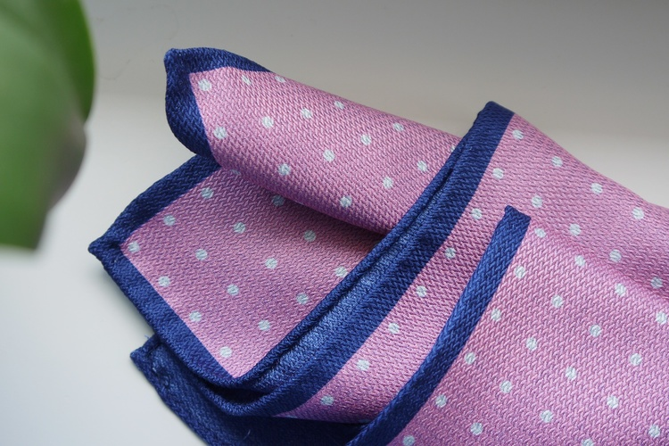 Polka Dot/Solid Silk Pocket Square - Double - Pink/Navy Blue