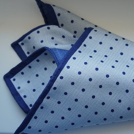 Polka Dot/Solid Silk Pocket Square - Double - Light Blue/Navy Blue
