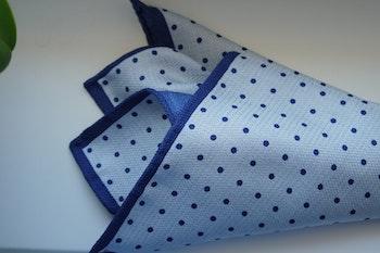 Polka Dot/Solid Silk Pocket Square - Double - Light Blue/Navy Blue