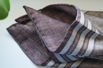 Square/Solid Silk Pocket Square - Double - Beige/Brown