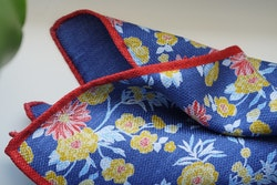 Floral/Solid Silk Pocket Square - Double - Mid Blue/Yellow