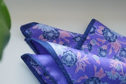 Floral/Solid Silk Pocket Square - Double - Purple/Navy Blue