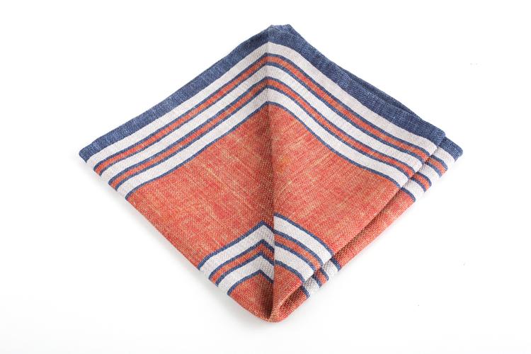 Square/Solid Silk Pocket Square - Double - Orange/Blue