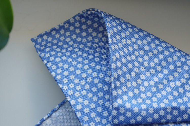 Floral Textured Silk Pocket Square - Light Blue/White