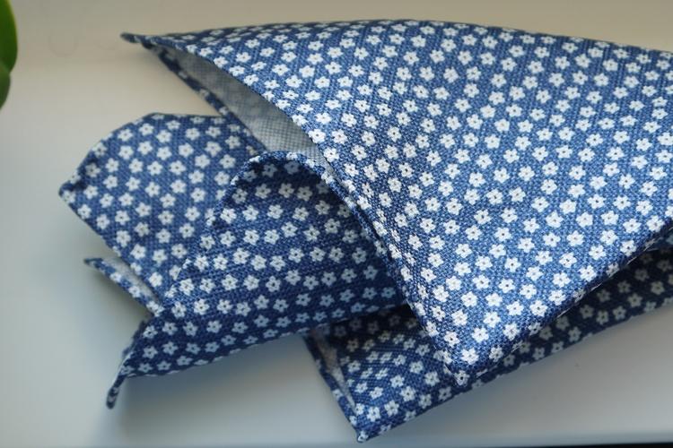 Floral Textured Silk Pocket Square - Navy Blue/White