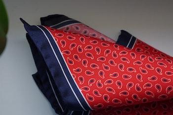 Paisley Silk Pocket Square - Red/Navy Blue