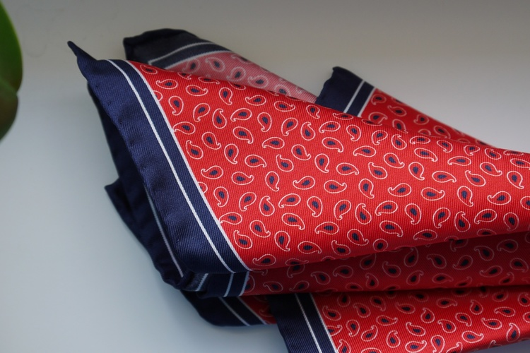 Navy Silk Pocket Square Red