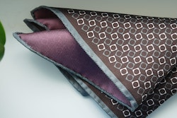 Square/Solid Silk Pocket Square - Double - Brown/Grey