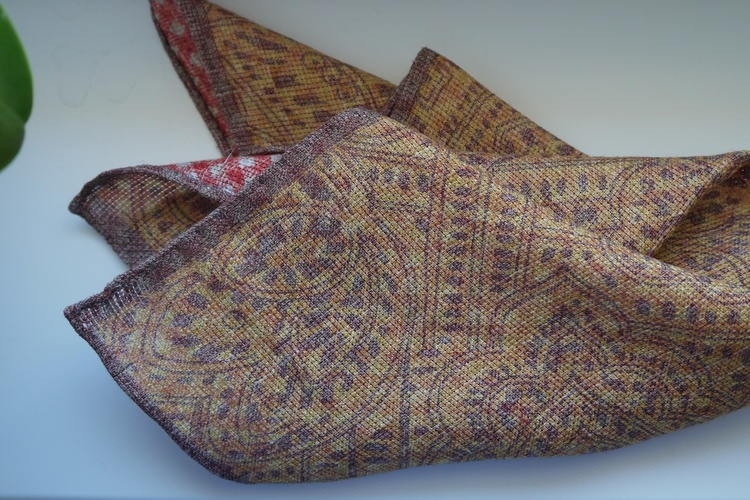 Paisley/Check Linen Pocket Square - Double - Yellow/Burgundy