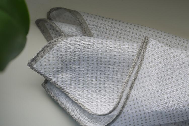 Pindot Linen Pocket Square - Beige/White
