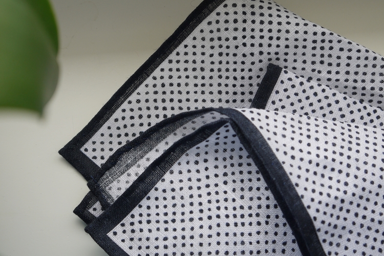 Pindot Linen Pocket Square - Navy Blue/White