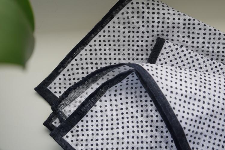 Pindot Linen Pocket Square - Navy Blue/White
