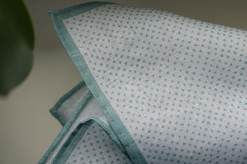 Pindot Linen Pocket Square - Mint Green/White