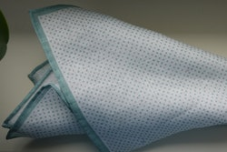 Pindot Linen Pocket Square - Mint Green/White