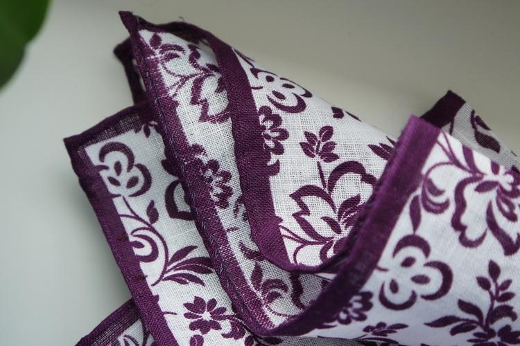 Floral Linen Pocket Square - Purple/White