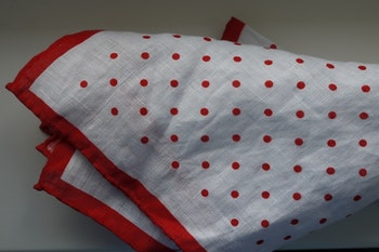 Polka Dot Linen Pocket Square - Red/White