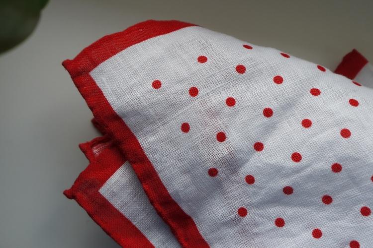 Polka Dot Linen Pocket Square - Red/White