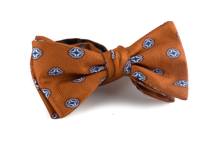 Medallion Silk Bow Tie - Orange/Navy Blue