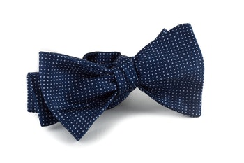Pindot Silk Bow Tie - Navy Blue/White