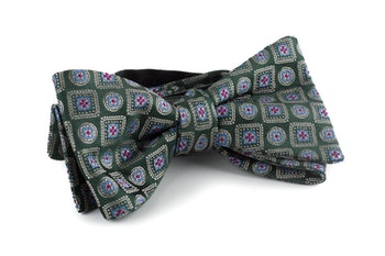 Medallion Silk Bow Tie - Green/Light Blue