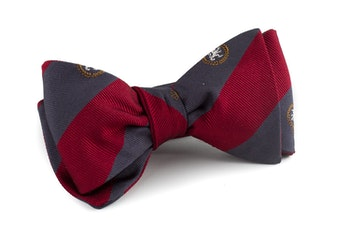 Regimental Silk Bow Tie - Navy Blue/Burgundy