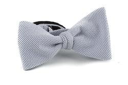 Striped Seersucker Cotton Bow Tie - Blue/White