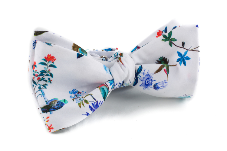 Floral Cotton Bow Tie - White/Blue/Orange