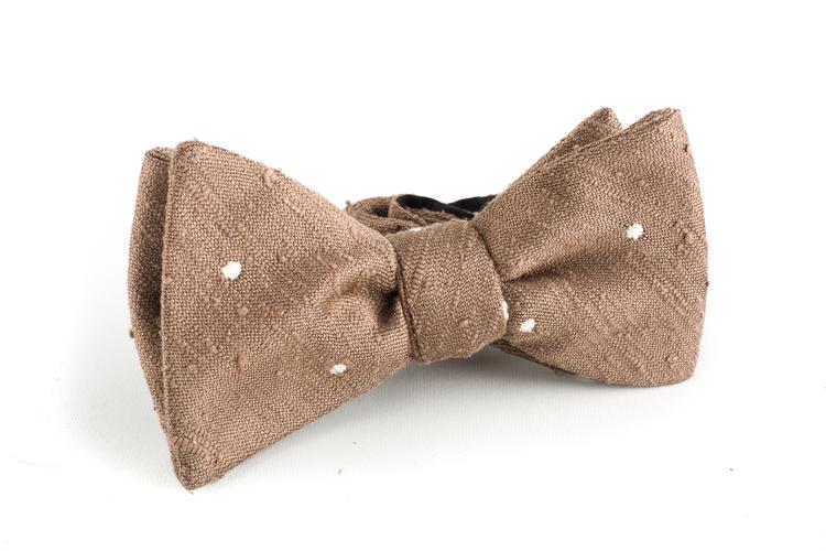 Polka Dot Shantung Bow Tie - Beige/White