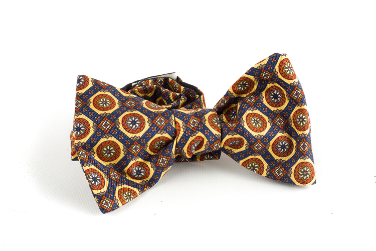 Medallion Vintage Silk Bow Tie - Yellow/Blue/Brown