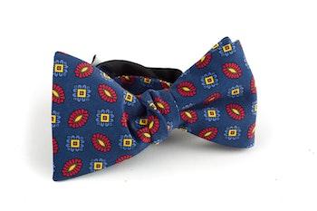 Floral Madder Silk Bow Tie - Navy Blue/Orange/Yellow