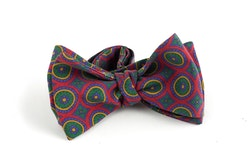 Medallion Madder Silk Bow Tie - Burgundy/Green