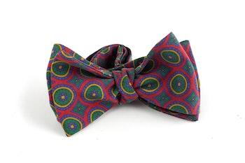 Medallion Madder Silk Bow Tie - Burgundy/Green