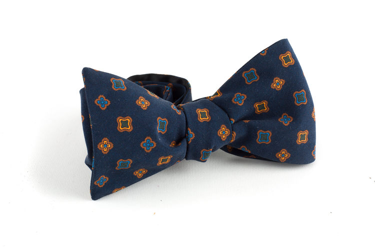 Square Madder Silk Bow Tie - Navy Blue/Orange/Brown