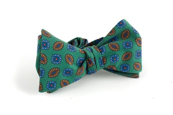Floral Madder Silk Bow Tie - Green/Brown/Blue