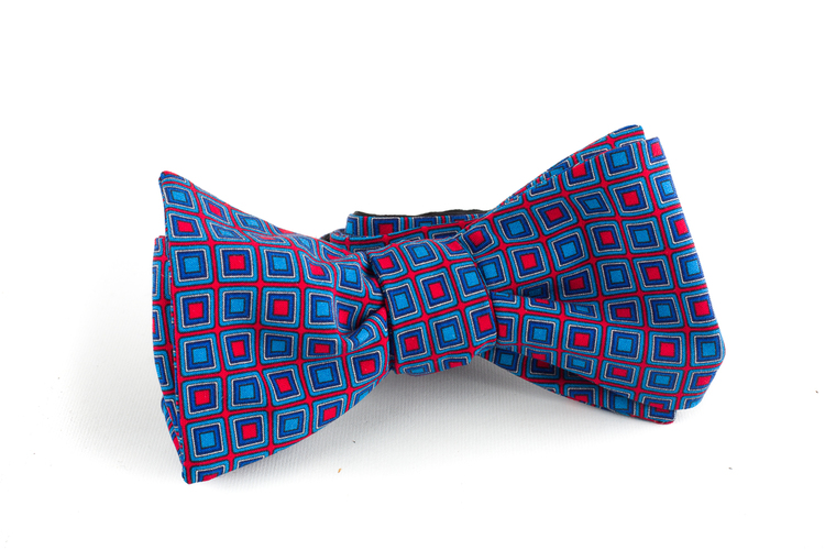 Square Madder Silk Bow Tie - Light Blue/Red
