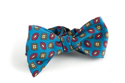 Floral Madder Silk Bow Tie - Mid Blue/Red/Brown