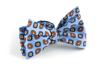 Floral Madder Silk Bow Tie - Light Blue/Brown/Yellow