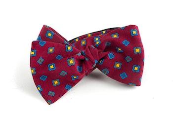 Square Madder Silk Bow Tie - Burgundy/Blue/Yellow