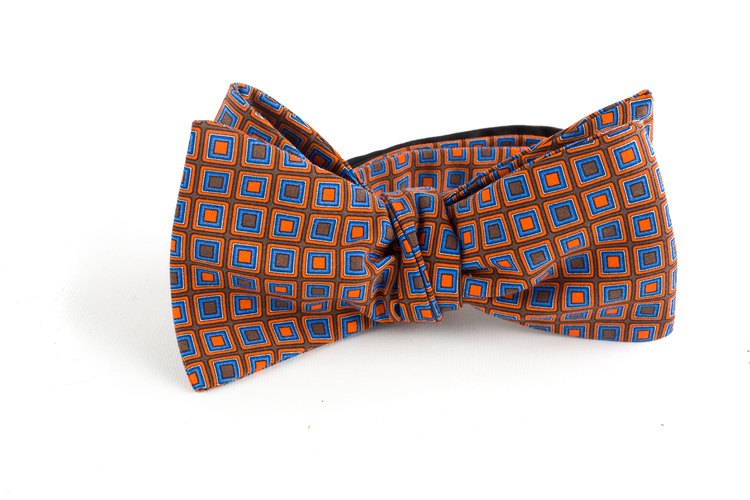 Square Madder Silk Bow Tie - Brown/Orange/Blue